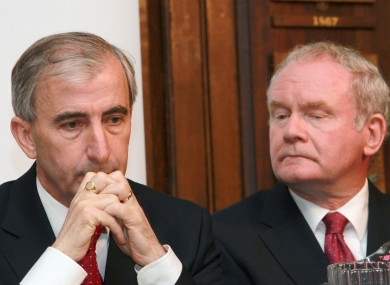Gay Mitchell and Martin McGuinness mull something over at today's Inclusion Ireland debate
