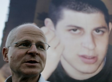 Gilad's father Noam Shalit at a demonstration calling for his son's release in 2008.