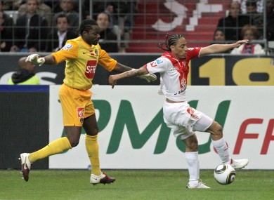 Juan Pablo Pino (and Jesus tattoo) in action last year for AS Monaco.