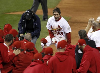 Teammates celebrate with St Louis Cardinals' David Freese.