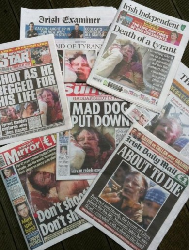 Poll: Should Gaddafi corpse photos have made the front page?