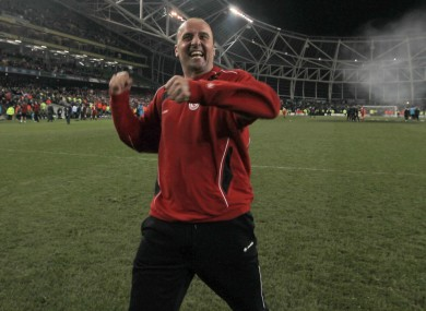Cook celebrates after winning the FAI Cup last season. Sligo play Shelbourne in this season's final on 6 November in the Aviva Stadium.