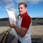 Jamie Heaslip arrives in Dunedin, pillow intact.