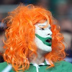 An Ireland fan shows his colours.