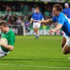 Ireland's Brian O'Driscoll gets over for a try.