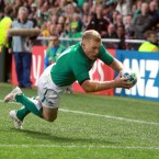 Ireland's Keith Earls scores a try in the corner.