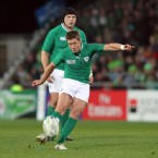 Ronan O'Gara kicks a penalty.