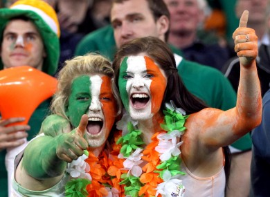 Irish fans in Dunedin earlier. 