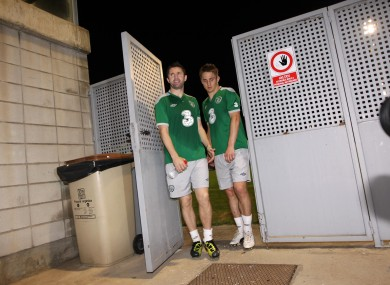 Robbie Keane and Kevin Doyle  head for training last night.