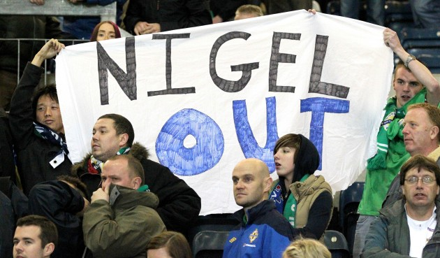 Northern Ireland's fans show their feelings to Nigel Worthington at full time 7/10/2011