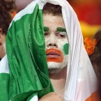 A dejected Ireland fan after the game.