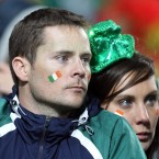 Ireland fans show their disappointment.