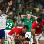Paul O'Connell reacts as Ireland give away a penalty in the dying moments against Wales. 