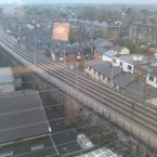 People walking on luas tracks at Charlemont this morning - submitted by a TheJournal.ie reader