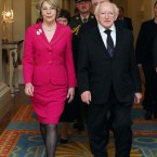 President Michael D Higgins and his wife Sabina as they prepare to meet members of the diplomatic corps at Dublin Castle. Pic Photocall Ireland/GIS