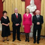 President Michael D Higgins and his wife Sabina with Tanaiste Eamon Gilmore and his wife Carol as they prepare to meet members of the diplomatic corps at Dublin Castle. Pic Photocall Ireland/GIS