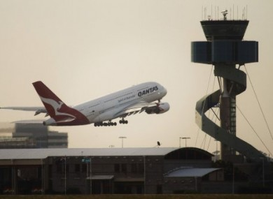 File photo of a Qantas A380 leaving Sydney's Mascot Airport.
