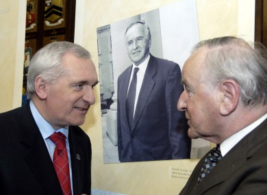Bertie Ahern (L) and former Taoiseach Albert Reynolds