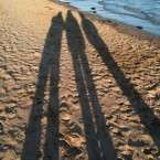 Casting long shadows on the beach in Rathmullan, Co Donegal this morning