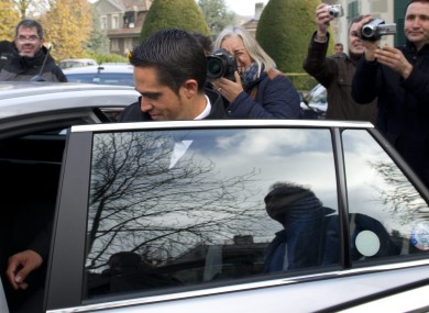 Contador leaving yesterday's hearing in Lausanne.