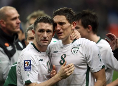 Robbie Keane and Keith Andrews after the draw in Paris two years ago.