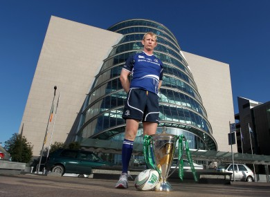 Leinster skipper Leo Cullen outside the Convention Centre in Dublin with the Heineken Cup trophy.