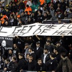 PAOK Salonika fans send a message to the IMF from Tallaght Stadium.