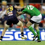 Australia's Easton Wood and Joe McMahon of Ireland clash.