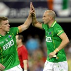 Ireland's Tommy Walsh celebrates a score with Tadhg Kennelly.