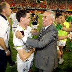 Ireland's captain Stephen Cluxton celebrates with GAA President Christy Cooney after the game.