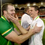 Ireland's vice captain Ciaran McKeever and captain Stephen Cluxton celebrate after the game.