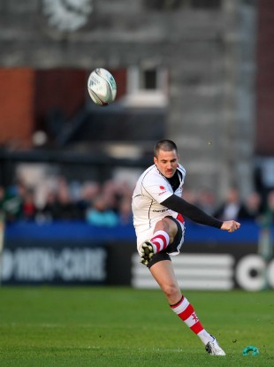 Ian Humphreys kicks at Ravenhill last weekend. 