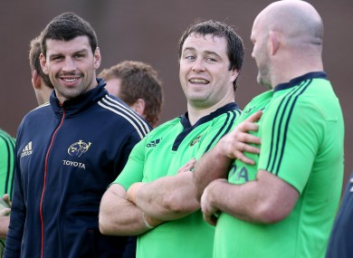 enis Leamy, Marcus Horan and John Hayes at Munster trianing yesterday.