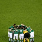 The Ireland team huddle-up before the game.