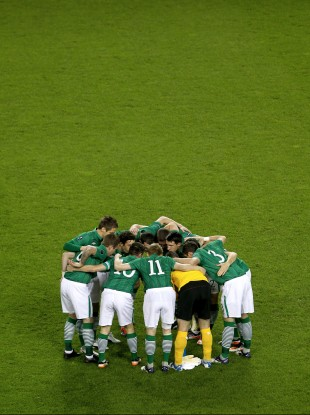 The Irish team huddle up before the second leg of their Euro2012 playoff with Estonia last week. 