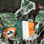 Ireland supporters show their colours at the end of the game. 