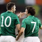 Robbie Keane and Stephen Hunt celebrate the opening goal.