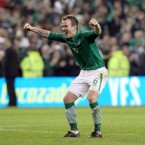 Glenn Whelan celebrates after the game.