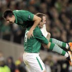 Ireland's Sean St. Ledger and Glenn Whelan.