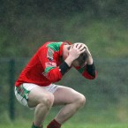 Goalkeeper Peter O'Dwyer dejected at the final whistle in the Munster Club SFC Championship semi-final between Dr Crokes and Kilmurray-Ibrickane in Kilarney.