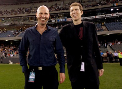 Brian and Jim Stynes are introduced to the crowd before the first International Rules game in October.