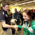 Britton is congratulated by Athletics Ireland High Performance Director Kevin Ankrom.