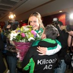 John O'Toole, vice-chairman of Kilcoole Athletic Club, greets Britton on her return.