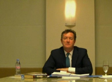 Morgan giving evidence to the Leveson inquiry via videolink