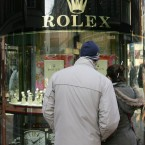 Shoppers outside a jewellers in Dublin today 