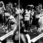 This sequence shows USA's Mary Decker falling as UK's Zola Budd (No.151) looks at her in the 3,000m in LA. An inquiry found Budd not responsible for the fall and Decker later confirmed that the case.