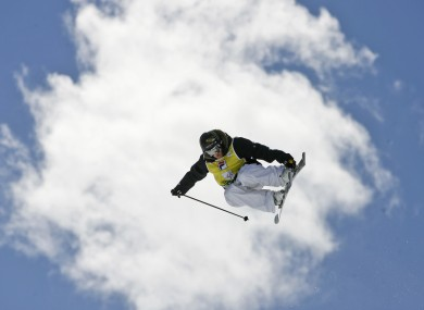 Sarah Burke in action during the Freestyle World Cup finals in 2008 (file photo).