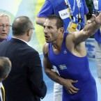 Sweden's Ara Abrahamian was so incensed by a judging decision in his Greco-Roman wrestling final that he left his bronze medal on the mat in the awards ceremony. He was stripped of his rejected medal by the IOC.