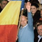 Blue is the colour for the Romanian president and his flag on a stick