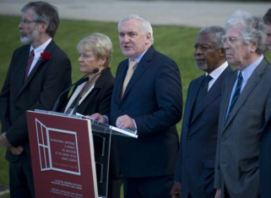 Ahern with Gerry Adams and Kofi Annan at the International Conference in October 2011.